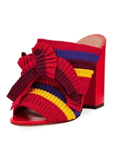 Tabitha Simmons Beau Colorblock Pleated Block-Heel Mule Sandal