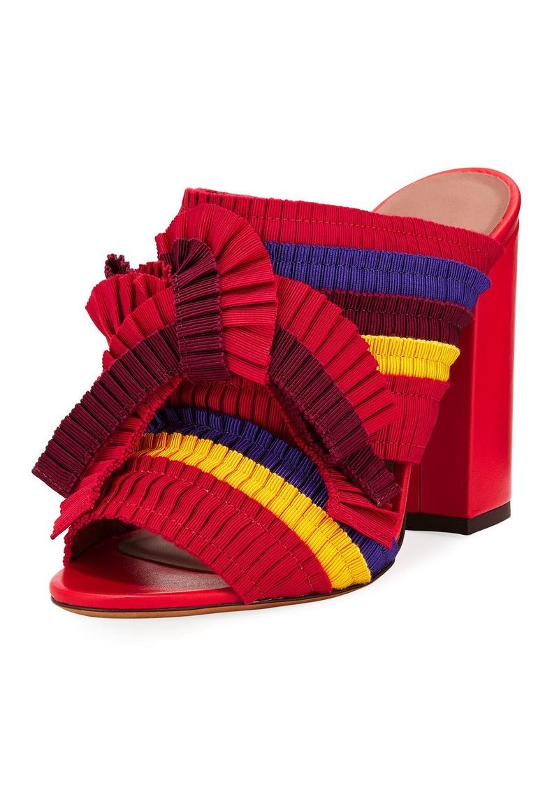Tabitha Simmons Beau Colorblock Pleated Block-Heel Mule Sandal