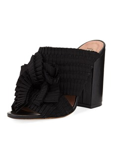 Tabitha Simmons Beau Pleated Block-Heel Mule Sandal