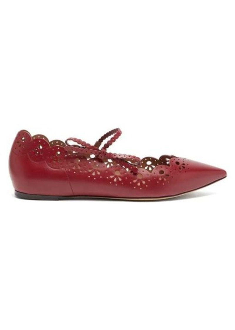 Tabitha Simmons Bobbin laser-cut leather Mary-Jane flats