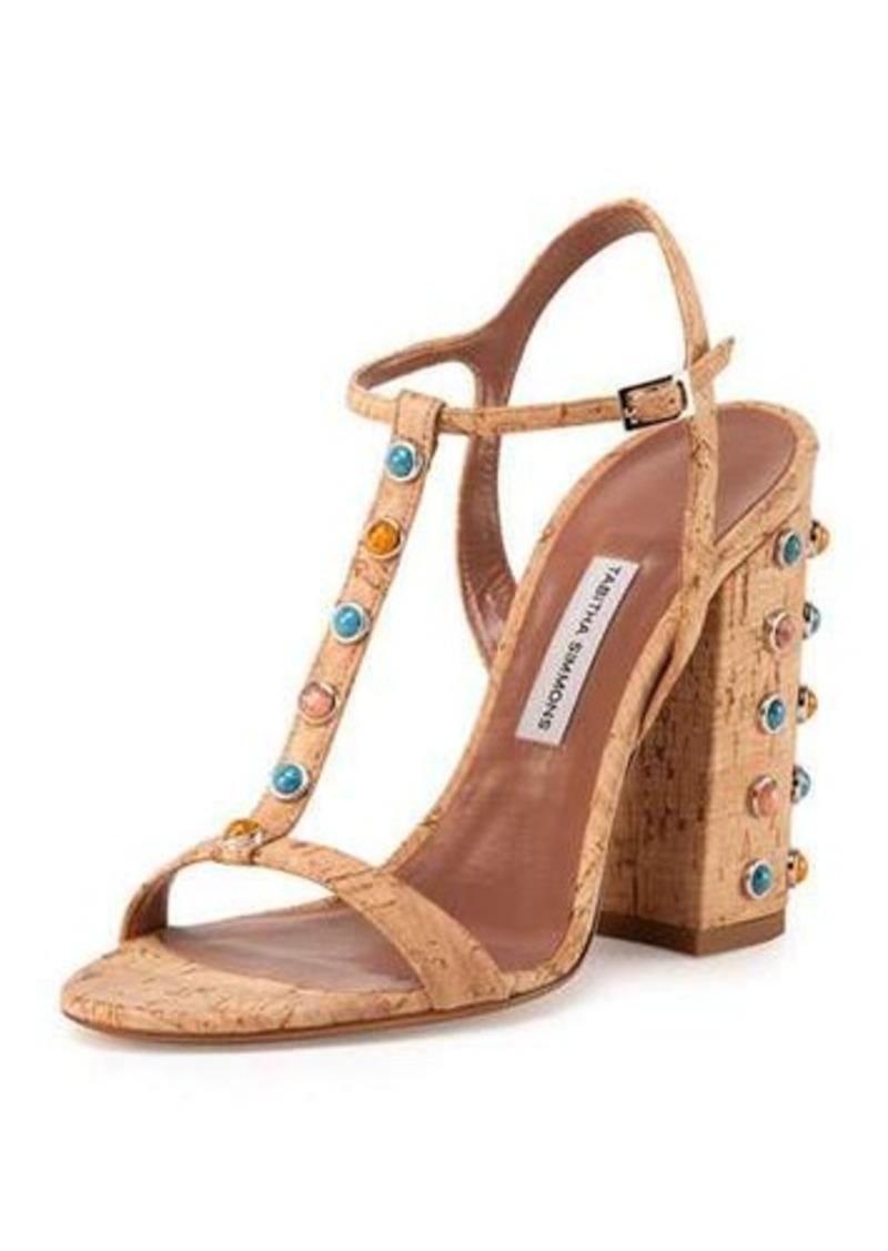 Tabitha Simmons Cabochon Cork T-Strap Sandal