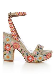 Tabitha Simmons Calla linen embroidered platform sandals