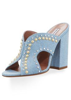Celia Studded Denim Mule Sandal