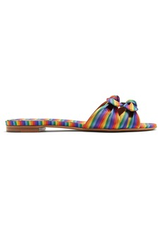 Tabitha Simmons Cleo rainbow-striped bow slides