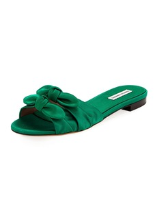 Tabitha Simmons Cleo Satin Bow Flat Slide Sandal