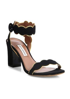 Tabitha Simmons Cloud Suede Ankle-Strap Block Heel Sandals