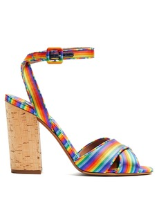 Tabitha Simmons Connie rainbow-striped cross-over strap sandals