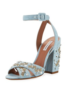 Tabitha Simmons Connie Sequined Denim Ankle-Strap Sandal