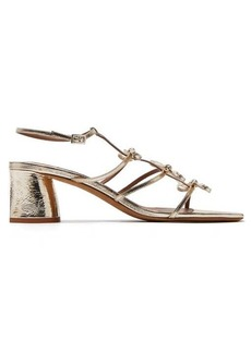 Tabitha Simmons Covie bow-embellished metallic-leather sandals