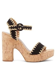 Tabitha Simmons Elena Whip suede and cork platform sandals