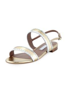 Tabitha Simmons Flat Two-Band Metallic Leather Sandal