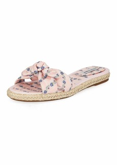 Tabitha Simmons Heli Floral Slide Flat Sandals  Pink