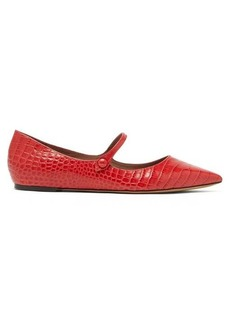 Tabitha Simmons Hermione crocodile-effect leather Mary-Jane flats
