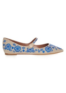 Tabitha Simmons Hermione point-toe embroidered flats