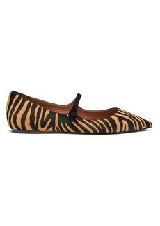 Tabitha Simmons Hermione zebra-print calf-hair Mary-Jane flats