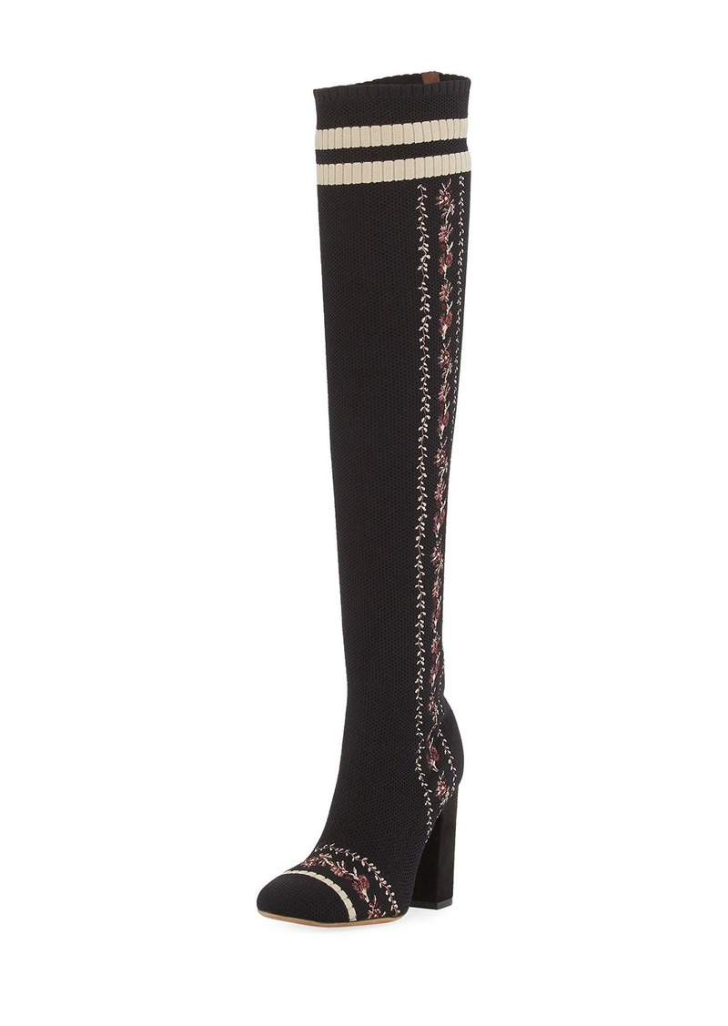 Tabitha Simmons Irina Floral-Embroidered Over-the-Knee Sock Boot