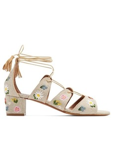 Tabitha Simmons Isadora embroidered linen sandals