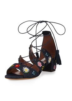 Tabitha Simmons Isadora Floral-Embroidered Lace-Up Sandals