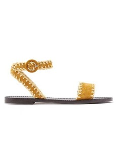 Tabitha Simmons Judy raffia-whipstitched suede sandals