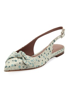 Tabitha Simmons Knotty Floral Pointed Slingback Flat