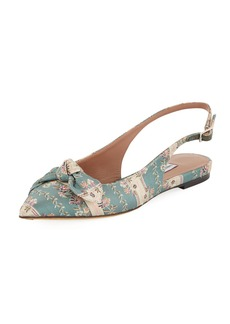 Tabitha Simmons Knotty Floral-Stripe Pointed Slingback Flat