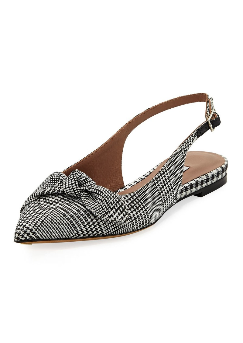 Tabitha Simmons Knotty Houndstooth Slingback Pointed Flat