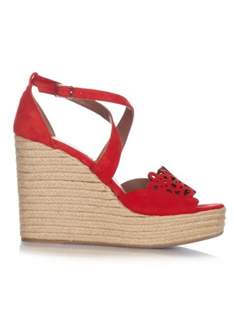 Tabitha Simmons Laser-cut suede wedge sandals