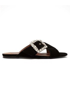Tabitha Simmons Leni crystal-buckle suede slides