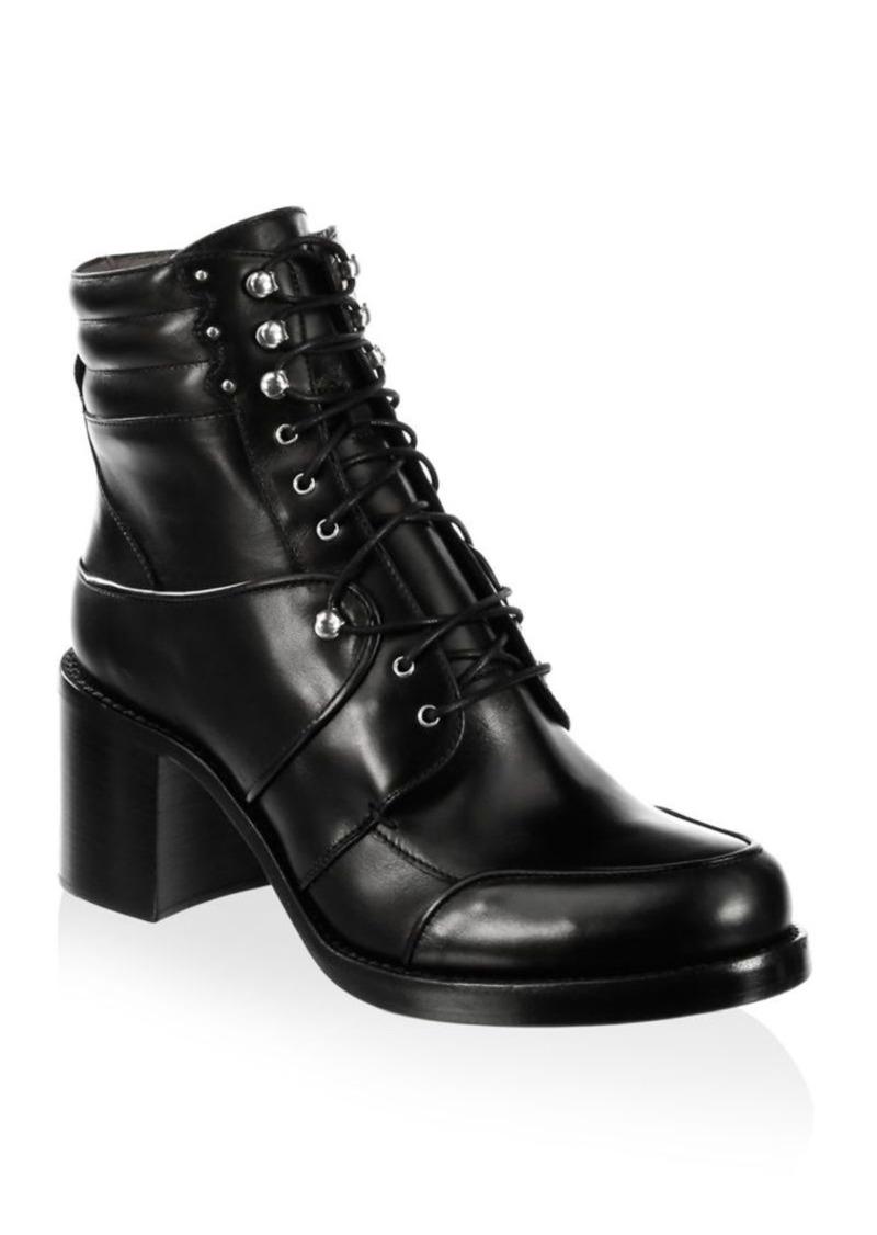 8c3e81bfc96 Leo Leather Block Heel Combat Boots