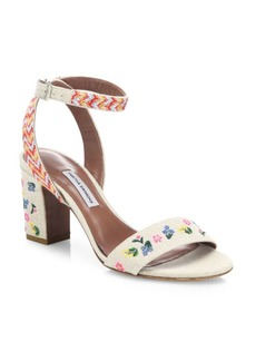 Tabitha Simmons Leticia Festival Embroidered Linen Block Heel Sandals