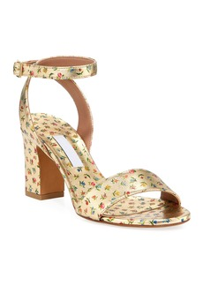 Tabitha Simmons Leticia Floral-Print Metallic Sandals