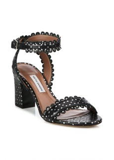 Tabitha Simmons Leticia Perforated Leather Block Heel Sandals