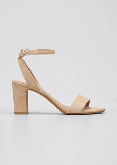 Tabitha Simmons Leticia Suede Ankle-Wrap Sandals  Beige