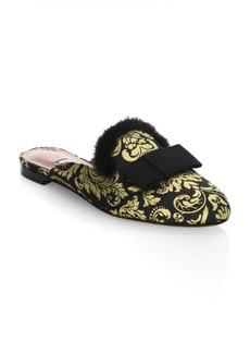 Tabitha Simmons Masha Mink Fur-Trimmed Velvet Mules