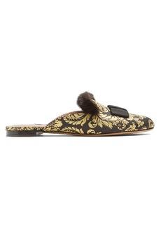 Tabitha Simmons Masha mink-trimmed brocade slipper shoes