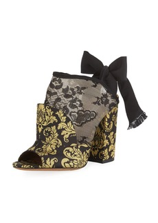Tabitha Simmons Regina Damask Open-Toe Tie-Back Booties