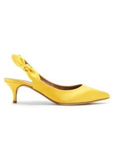 Tabitha Simmons Rise slingback kitten-heel satin pumps
