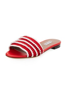 Tabitha Simmons Sprinkles Pleated Grosgrain Slide Sandal