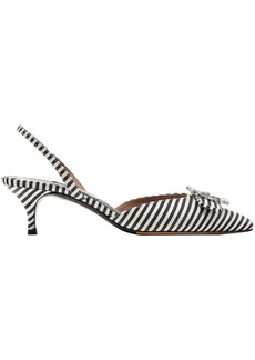 Tabitha Simmons Woman Bells Crystal-embellished Striped Canvas Slingback Pumps Black