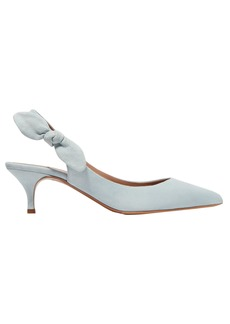 Tabitha Simmons Woman Bow-embellished Suede Slingback Pumps Sky Blue