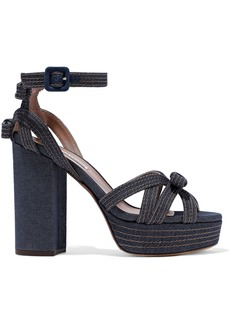 Tabitha Simmons Woman Bow-embellished Denim Platform Sandals Dark Denim