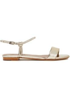 Tabitha Simmons Woman Bungee Metallic Leather Sandals Platinum