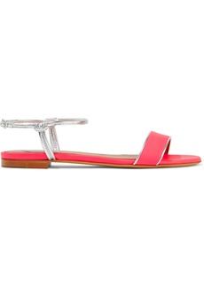 Tabitha Simmons Woman Bungee Neon And Metallic Leather Sandals Bright Pink