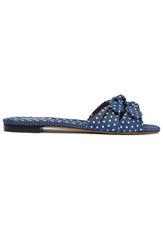 Tabitha Simmons Woman Cleo Bow-embellished Polka-dot Twill Slides Navy