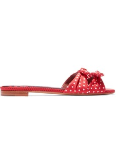 Tabitha Simmons Woman Cleo Bow-embellished Polka-dot Twill Slides Red