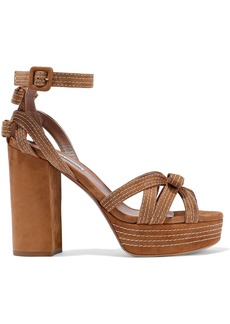 Tabitha Simmons Woman Goldy Bow-embellished Suede Platform Sandals Light Brown