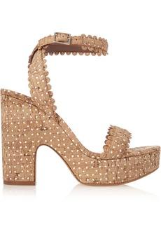 Tabitha Simmons Woman Harlow Perforated Cork Sandals Beige
