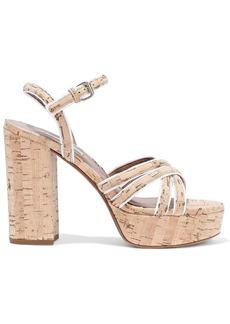 Tabitha Simmons Woman Hensley Grosgrain-trimmed Cork Platform Sandals Sand