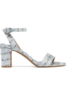 Tabitha Simmons Woman Leticia Silk-blend Floral-jacquard Sandals Sky Blue