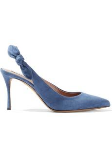 Tabitha Simmons Woman Millie Knotted Suede Slingback Pumps Slate Blue